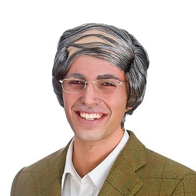 Mens abuelo gris viejo peine sobre la peluca del vestido de lujo de accesorios: Juguetes y juegos