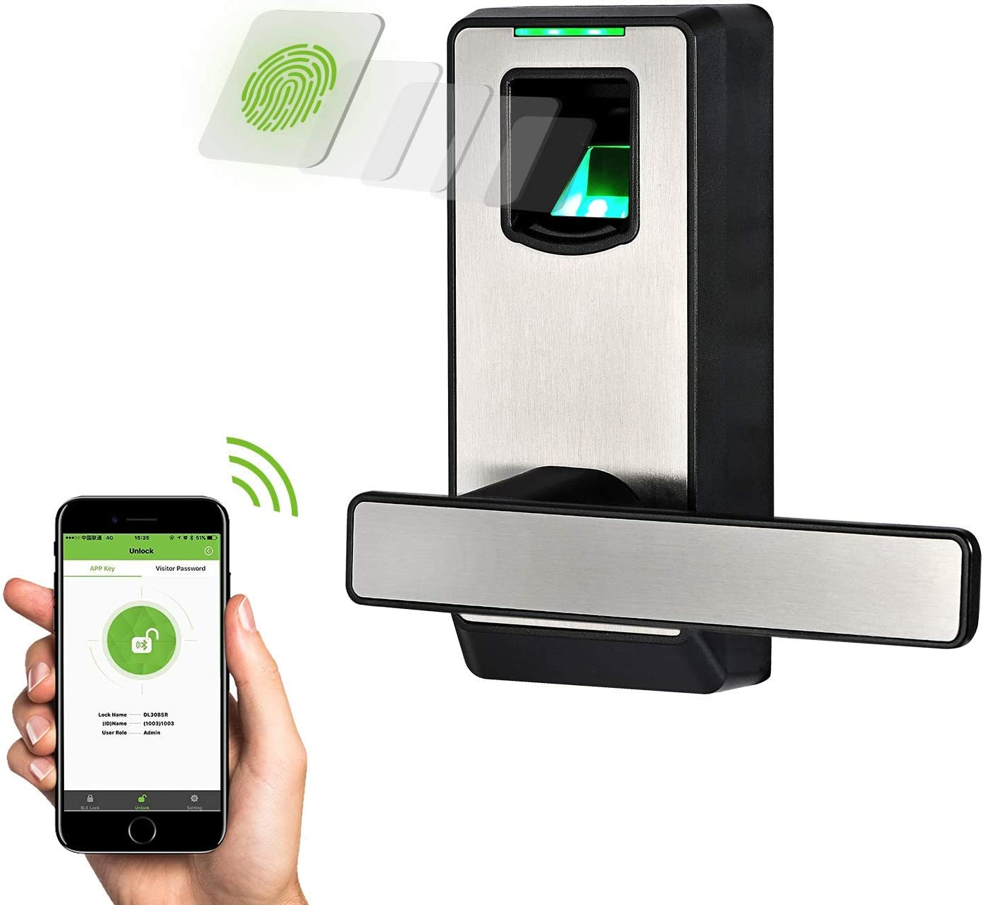 Zink Alloy ZKTeco Keyless Door Lock,Bluetooth Smart Lock,Digital Door Lock Touchscreen Keypad 5 pcs RFID Cards App Control Anti-peep Password Door Locks for Office Home