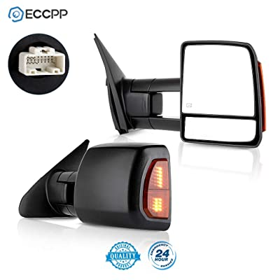 ECCPP Passenger Left Driver Right Tow Mirrors Pair Set Side LED Signal Power Heated Side View Mirrors Manual Telescoping Black Towing Mirrors Replaceme fit 2007-2016 Toyota Tundra (Pair Set) (A Pair): Automotive
