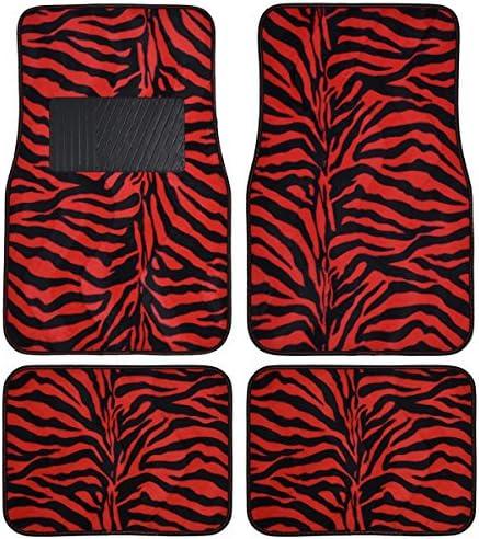 BDK MT-902-RD Animal Print Velvet Carpet Floor Mat for Car SUV Truck and Van, 4 Piece, Red Zebra
