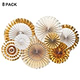Party Hanging Paper Fans Set, Gold Round Pattern Paper Garlands Mexican Party Supplies Decoration for Birthday Wedding Graduation Events Accessories, Set of 8