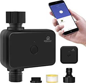 IRRIGOLD WiFi Water Timer, Smart Hose Timer Works with Alexa and Google Assistant via Wireless Hub, Rain Delay Irrigation Timer with IP55 Waterproof for Sprinkler/Garden/Hose Faucet System/Greenhouse
