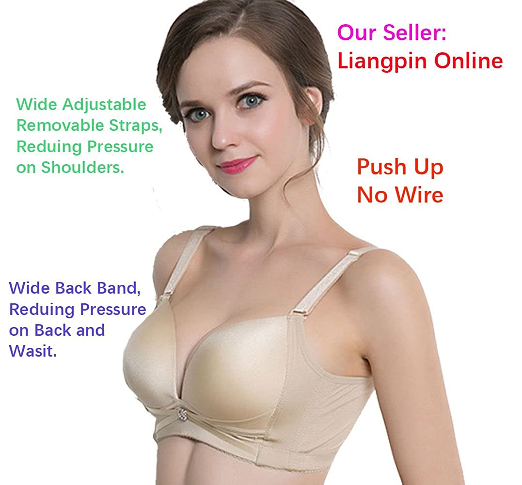 b2477b7751 Liangpin Women Push up Bra Bralette Padded Wireless No Side Effects Soft  Comfy 34-44 AB at Amazon Women s Clothing store