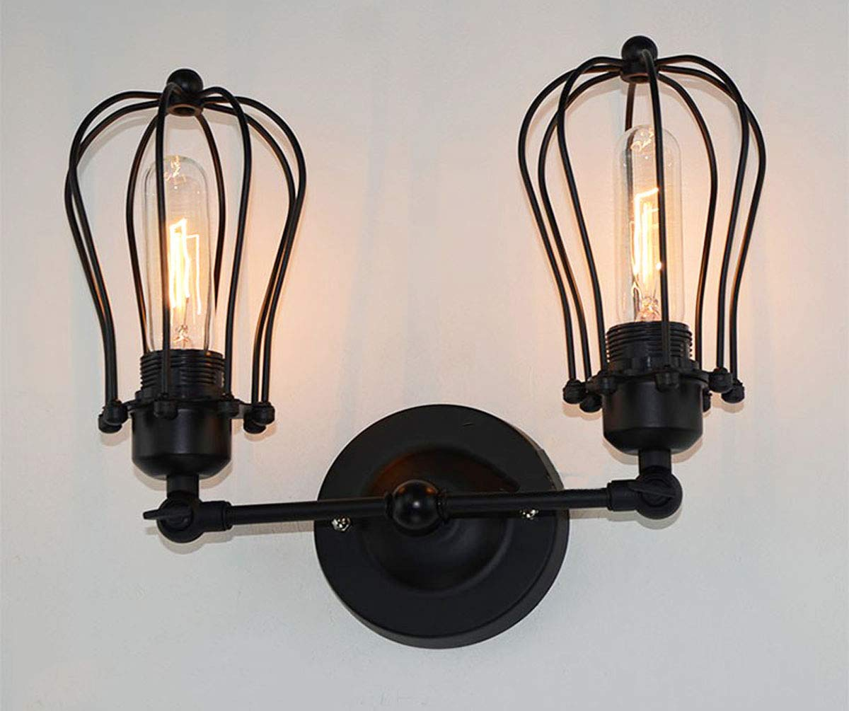 2-Light Industrial Wall Sconce Licperron Edison Vintage Style Wire Cage Wall Sconce Antique Mini Wall Lamp for Hallway Bar Kitchen(Bulbs Not Included)