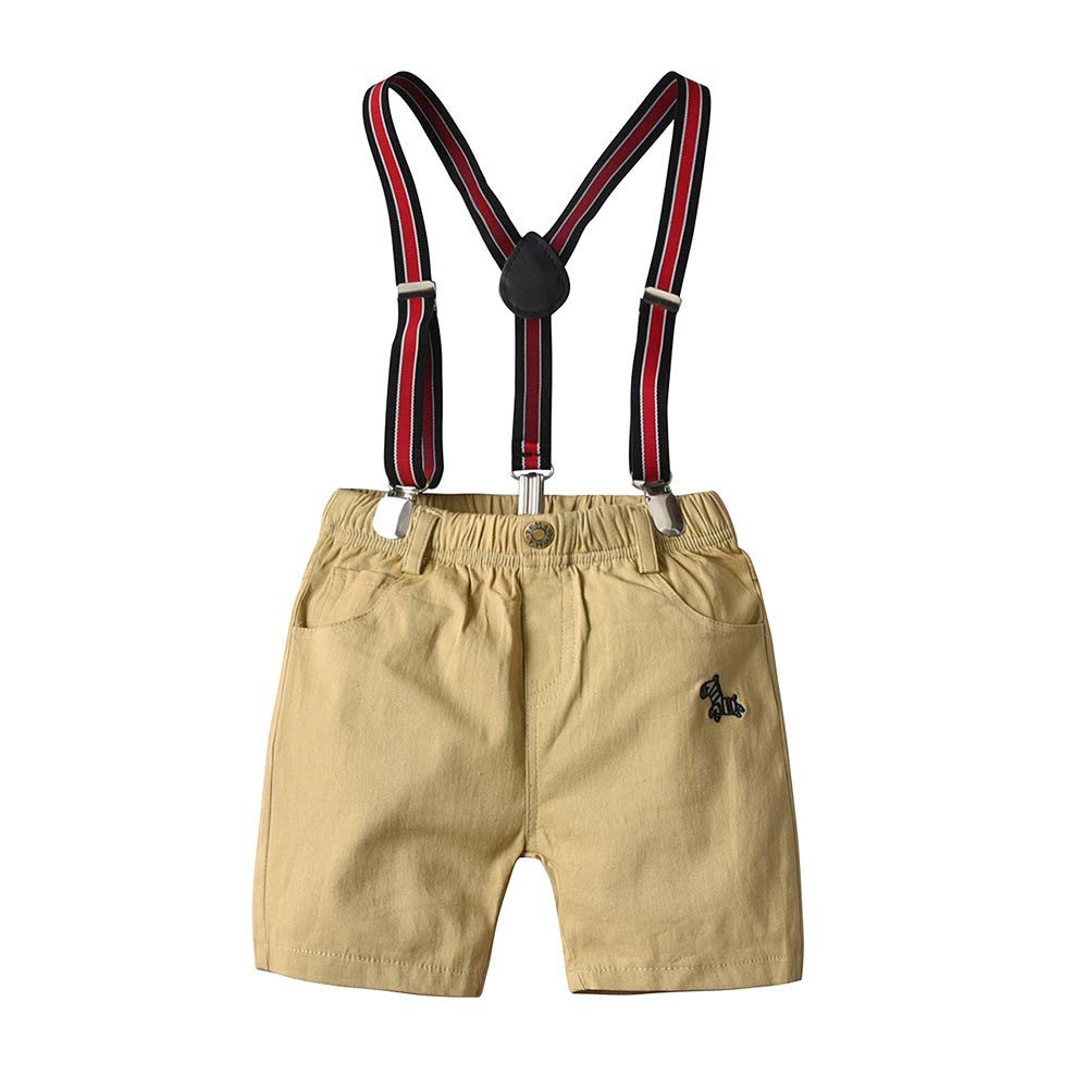 Nwada Toddler Boys Clothes Short Sleeve Bowtie Shirts and Suspenders Shorts Outfits Suits Gentleman Tuxedos