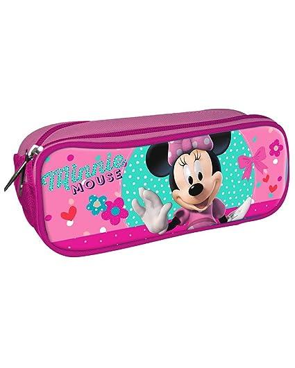 Disney Minnie Estuche portatodo con Doble Cremallera Bolsillo