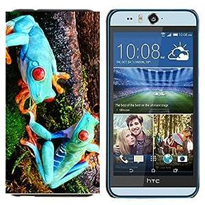YiPhone /// Prima de resorte delgada de la cubierta del caso de Shell Armor - Ranas extranjeros azules divertidos - HTC Desire Eye M910x