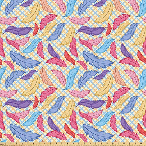 Ambesonne Colorful Fabric by The Yard, Different Vane Feather Figures Types on a Square Shape Striped Backdrop Print, Microfiber Fabric for Arts and Crafts Textiles & Decor, 10 Yards, ()