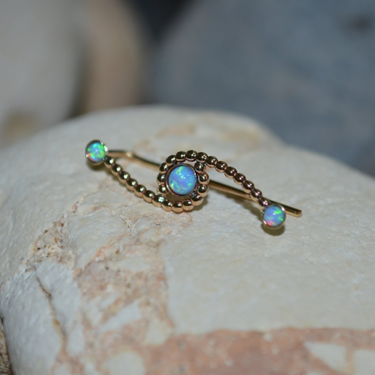 Gold EAR CLIMBER Opal//Light Blue Opal Ear Pins - Minimalist Earrings - Ear Sweep - Earcuff - Wrap Earrings