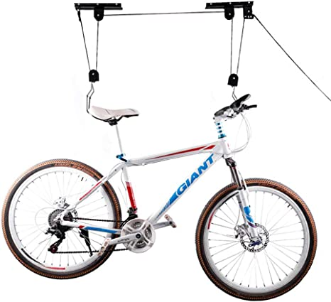Elevador de bicicleta Elevador de bicicleta para almacenamiento en el techo del garaje, estante para colgar bicicleta de montaña resistente con 3 poleas y cuerda ajustable de 45 pies 50 KG: Amazon.es: Hogar