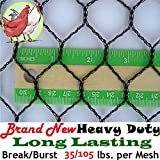 Pinnon Hatch Farms 1'' Light Knitted Netting (25' X 100') Poultry Plant Bird Aviary Fruit Garden Protection Net Nets - Break/Burst: 35/105 lbs. per mesh