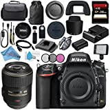 Nikon D750 DSLR Camera 1543 AF-S VR Micro-NIKKOR 105mm f/2.8G IF-ED Lens 2160 + 62mm 3 Piece Filter Kit + 256GB SDXC Card + Professional 160 LED Video Light Studio Series Bundle