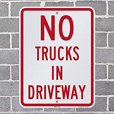 18 x 24 3M Engineer Grade Reflective Aluminum Lyle Signs Inc K2-0772-EG-18x24 No Trucks In Driveway Sign By SmartSign