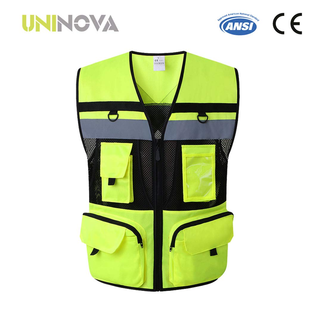 Uninova Safety Vest High Visibility - 10 Pockets Reflective Vest for Men & Women - ANSI/ISEA Standards (Medium, YELLOW-03)