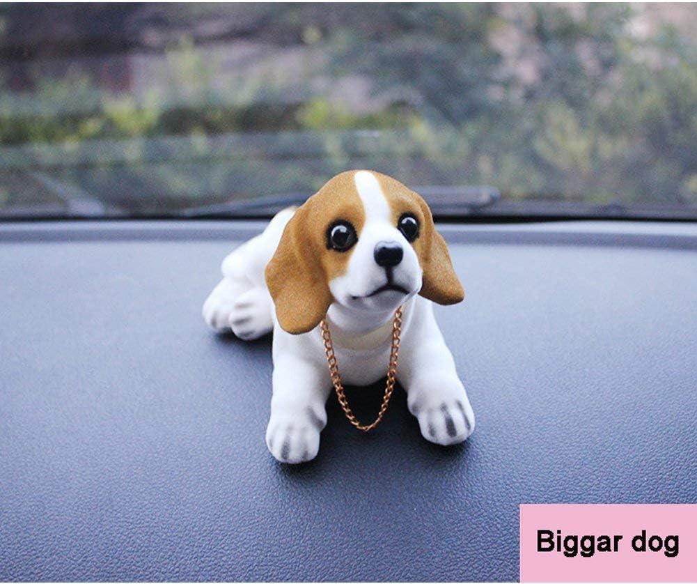 Sopito Decorazione per Auto Cane Beagle Bianco Nero Che muove la Testa con Perline profumate