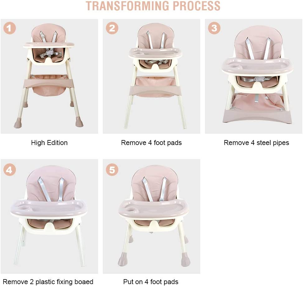 with Removable Tray Pink 5-piont Harness and Adjustable Height Legs High Chair for Baby and Toddler Folding and Portable Dining Chair for Boys and Girls