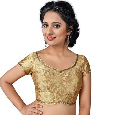 dfaf82655 Bollywood Blouses Women s Designer Back Open Brocade Saree Blouse Medium  Gold