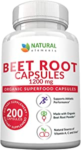 Beet Root Capsules - 1200mg Per Serving - 200 Beet Root Powder Capsules - Beetroot Powder Supports Lower Blood Pressure, Athletic Performance, Digestive, Immune System (Pure, Non-GMO & Gluten Free)