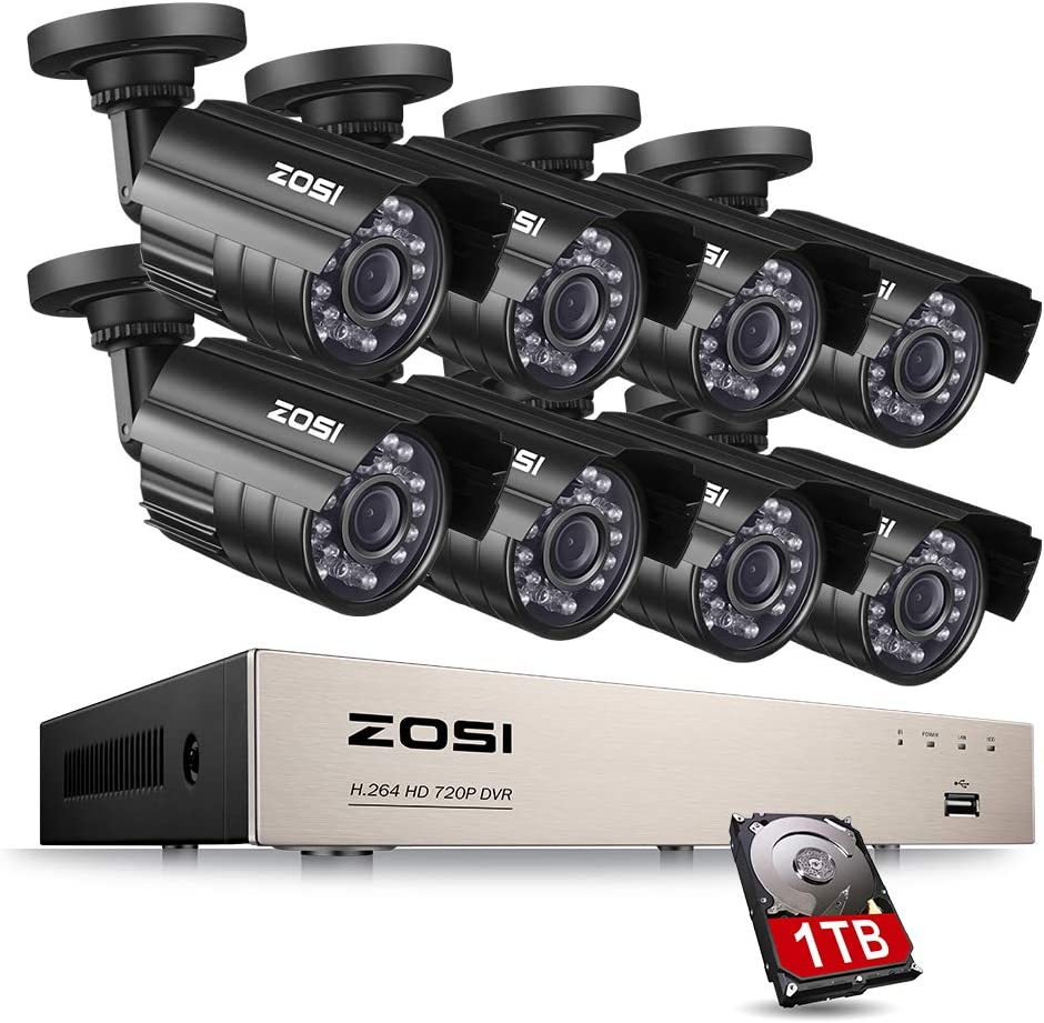 ZOSI 8-Channel 1080N HD Video Security System CCTV DVR 1TB Hard Drive 8 Indoor Outdoor 1.0MP 1280TVL Weatherproof Surveillance Security Camera System Renewed