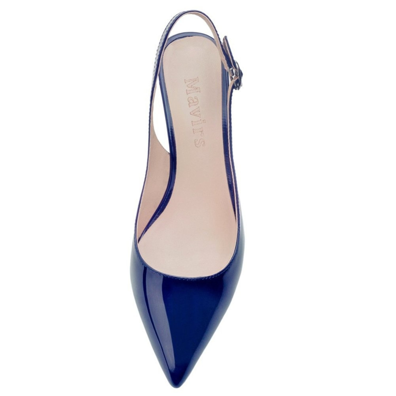 Gome-z Pointed Toe Navy Blue Patent Patent Stilettos Women Pumps Dress Bride Shoes 6.5 cm Low Heel US Size 5-15 White 11