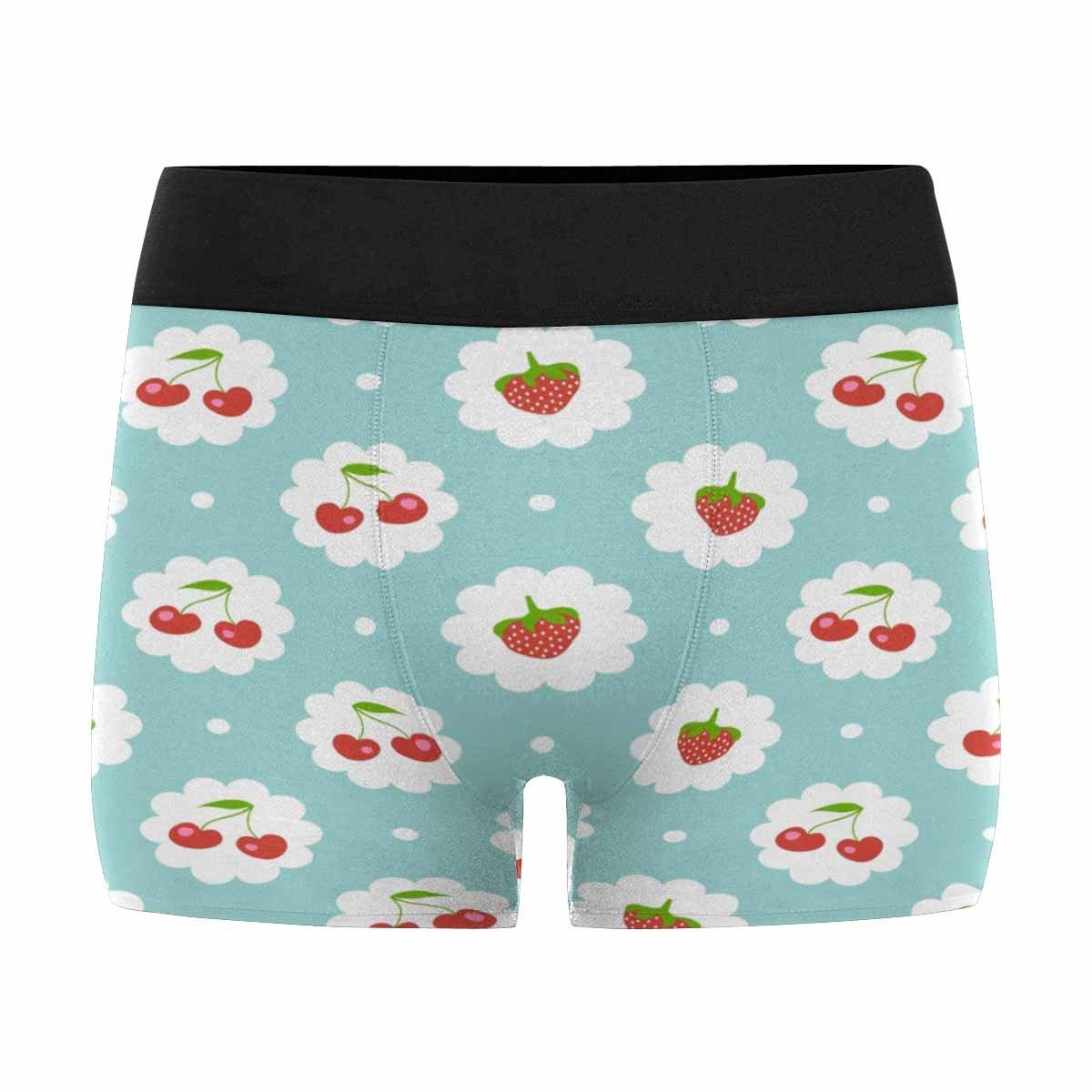 XS-3XL INTERESTPRINT Mens Boxer Briefs Underwear Sweet Cherry and Strawberries