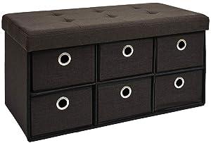 DuneDesign Coffre de Rangement Pliante 76x38x38cm 6 tiroirs 80L Poufs Pliable Repose-Pieds rectangulaire rembourré 2 Places Marron Foncé