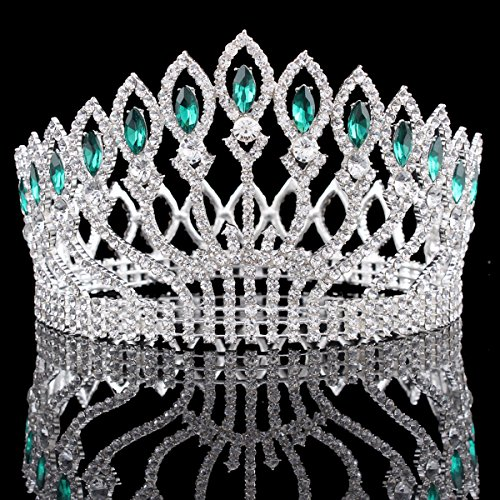 FUMUD Wedding Bridal Crystal Tiara Crowns Princess Queen Pageant Prom Rhinestone Silver Tiara Headband Wedding Hair Accessories ()