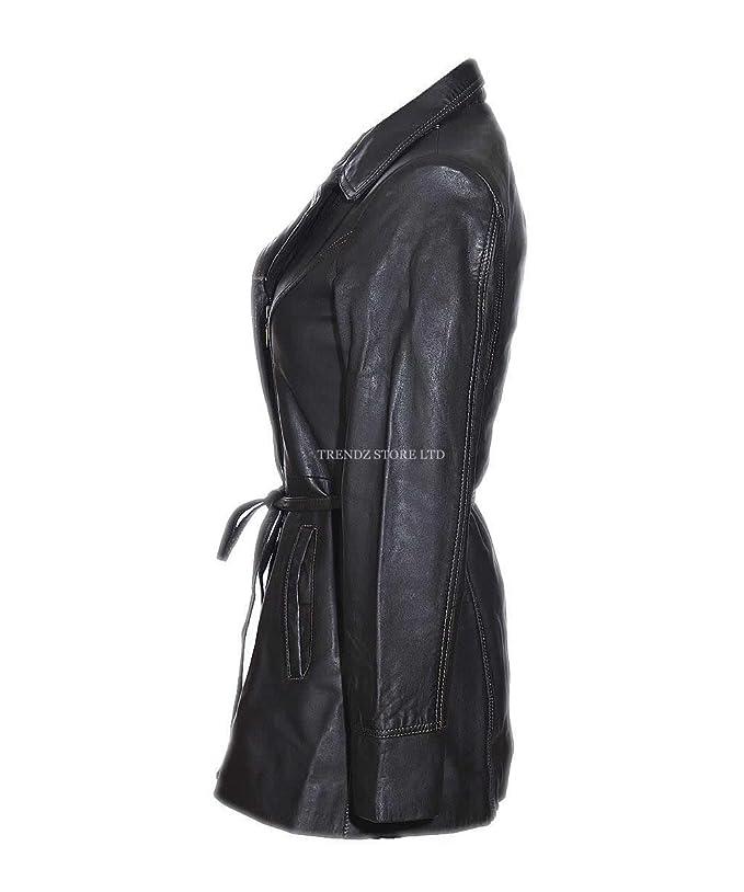 ea5b8f584030fe Olivia Donna Vintage Marrone scuro Casual Giacca in pelle di agnello  cappotto trench marrone 10: Amazon.it: Abbigliamento
