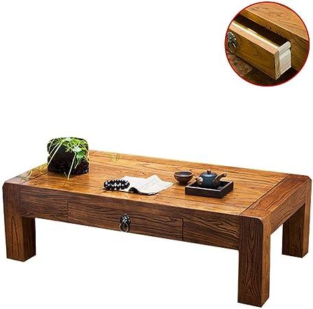 Muebles y Accesorios de jardín Mesas Tatami Mesa de café té Mesa de Estilo Chino Sólido Mesa Baja de Madera con un diseño de cajón, protección del Medio Ambiente y sin Olor: