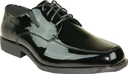 Men Tuxedo Shoe TUX-7 Fashion Moc Toe with Wrinkle Free Material Black Patent 17W