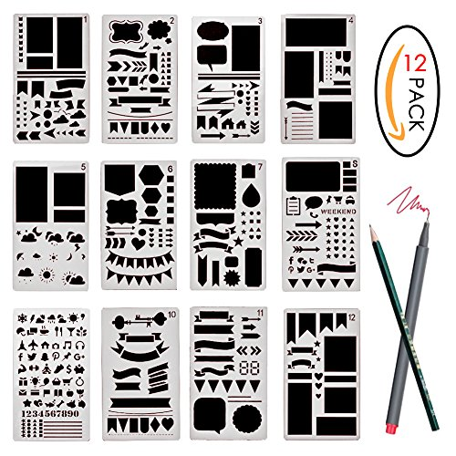 Pack of 3 Stainless Steel Drawing Ruler Painting Stencils Sc