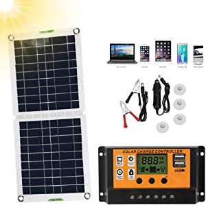 favourity-home Solar Power System Charger, Flexible Solar Panel 15W Monocrystalline Solar Panel Portable Power Backup Kit for RV, Boats, Roofs, Uneven Surfaces