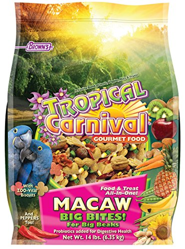 F.M. Brown's Tropical Carnival Gourmet Macaw Food Big Bites for Big Beaks, Vitamin-Nutrient Fortified Daily Diet with Probiotics for Digestive Health, 14lb Big Bird Products Bird