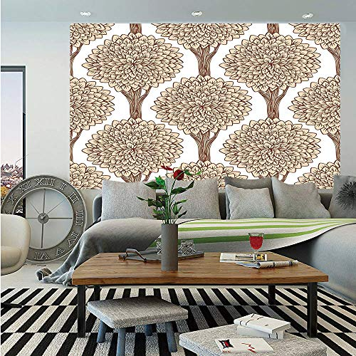 SoSung Nature Wall Mural,Tree Pattern Continuous Symmetric with Full of Leaves Earthen Toned Graphic,Self-Adhesive Large Wallpaper for Home Decor 83x120 inches,Sand Brown Cinnamon