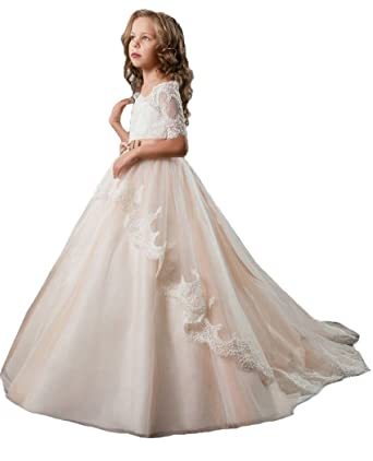 61aa984681 QiJunGe Ball Gown Flower Girl Dress Girls First Communion Dresses for  Weddings Champagne US 2