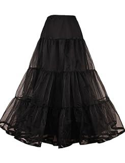 Plus Size Long Black Petticoat for Women