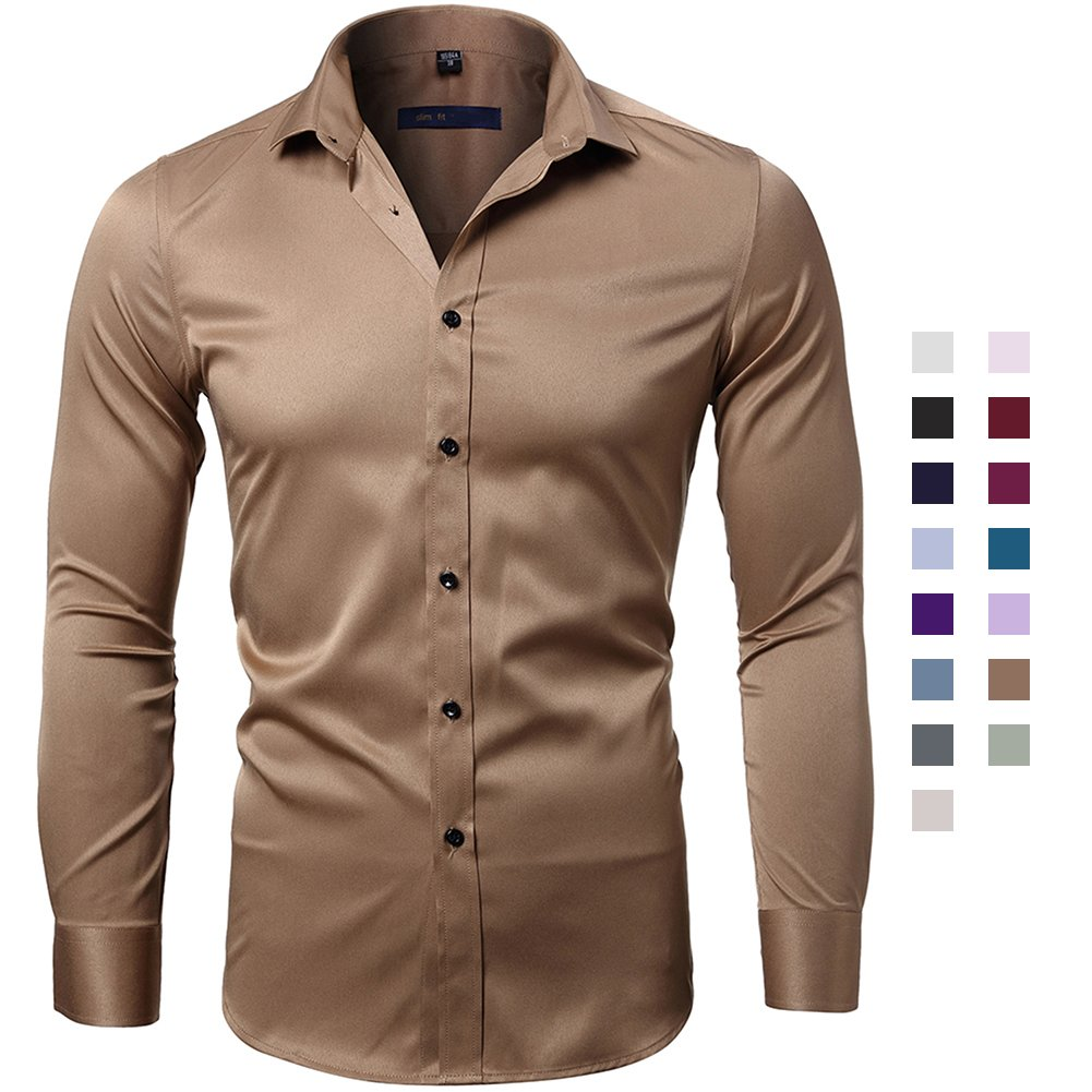 FLY HAWK Dress Shirts Men's Business Slim Fit Bamboo Fiber Long Sleeves Shirt