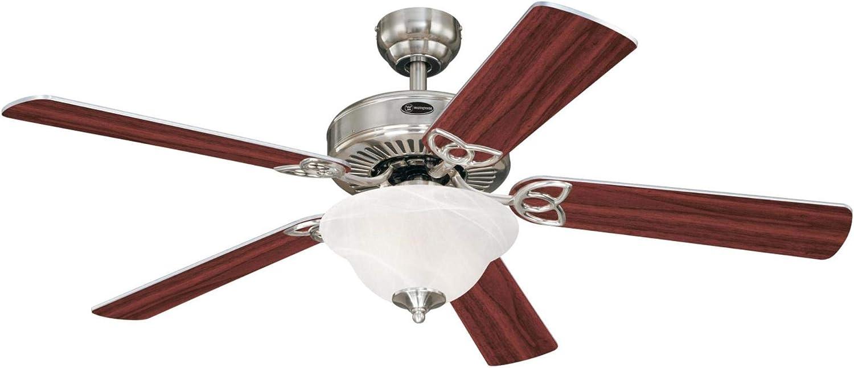 Westinghouse Lighting 7234900 Vintage II Indoor Ceiling Fan with Light, LED, Brushed Nickel