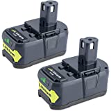 Biswaye 2 Pack 5000mAh 18V Lithium Battery P108 for Ryobi, Replacement for Ryobi 18-Volt ONE+ Cordless Power Tools Battery P122 P102 P103 P104 P105 P107 P108 P109