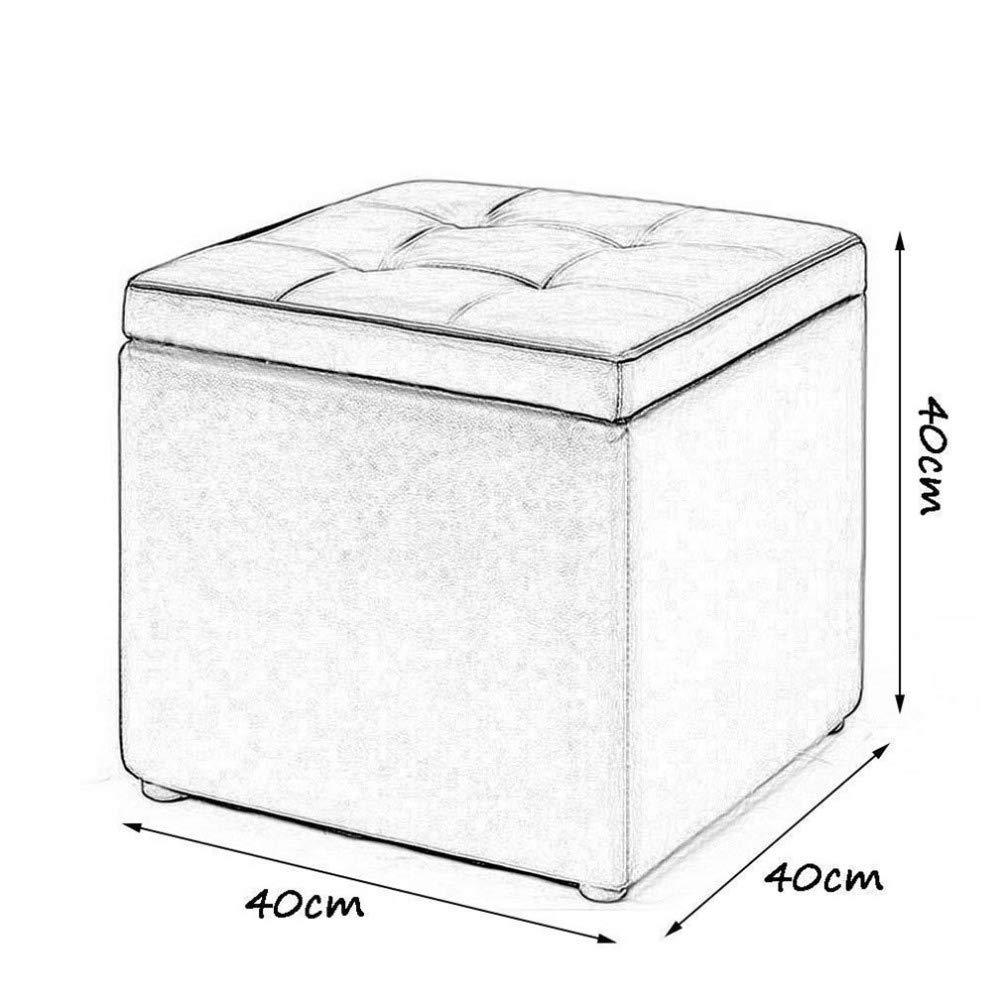 35cm 30 ZBYY Pouf Pouf Contenitore Portaoggetti Contenitore Nero Multifunzione in Pelle PU Poggiapiedi Max 100 kg,30