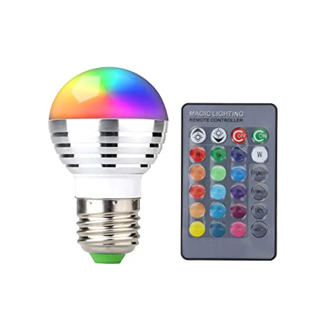 finest selection 788fa c936a SUPERNIGHT 3W RGB LED Color Changing Light Bulb Lamp with Wireless Remote  Controller