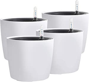 KINJOEK 4 Packs 7 Inch Self Watering Planter with Water Level Indicator, Modern Garden Decorative White Flower Pot for House Plants, Flowers, African Violets, Succulents, White