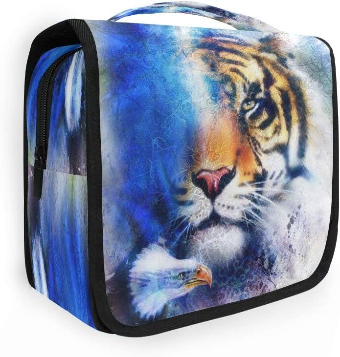 Bolsa de aseo colgante Lerous Tiger con águila, bolsa de lavado con gancho, impermeable, portátil, grande, organizador de cosméticos, viaje para mujeres y hombres