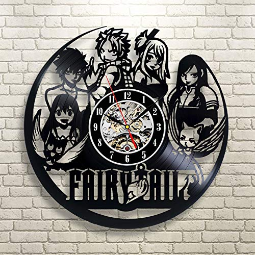 (FairyTail Anime Vinyl Record Wall Clock - Decorate your home with Modern Large Art - Gift for kids, girls and boys)