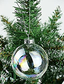 8pcs 8cm clear iridesecnt glass christmas baubles ball xmas tree hang ornament - Iridescent Christmas Tree Decorations