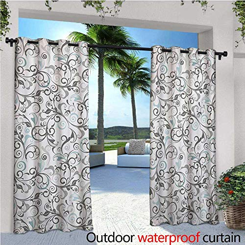 Damask Flush (homehot Floral Fashions Drape Damask Antique Baroque Curls Classic Old Fashioned Artistic Royal Revival Outdoor Curtain Waterproof Rustproof Grommet Drape W120 x L96 Grey Pale Blue White)