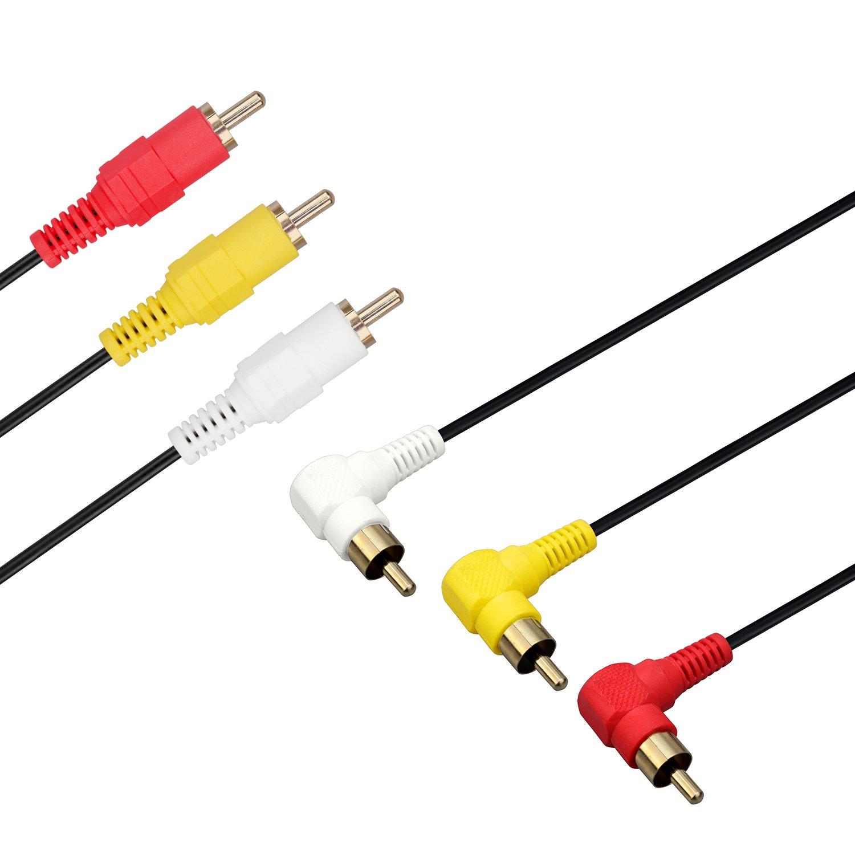 3FT placcato in oro cavo di alta qualit/à cavo RCA con 3 connettori audio video ad angolo retto maschio a RCA 3 connettori audio video composito A//V AV maschio Bolongking cavo RCA con 3 connettori