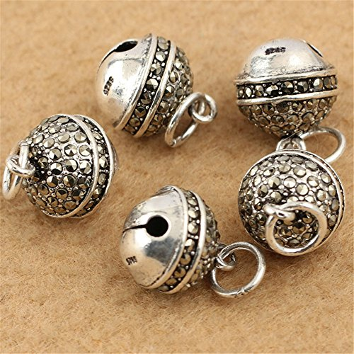 MFMei Thai Sterling Silver Bell Marcasite Round Dangle Bead (CY157)