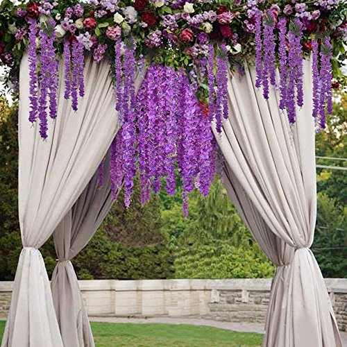 GTidea 5pcs Silk Wisteria Flowers Hanging Vine Rattan Artificial Plant Garland Wreath Wholesale Home Garden Fences Restrant Hotel Parties Wedding Simulation Decor in Purple