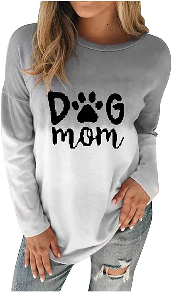 EDC Womens Tie Dye Letter Printed Shirts Dog MOM Crewneck Long Sleeve Pullover Tops Blouse T Shirt Plus Size .S-5XL